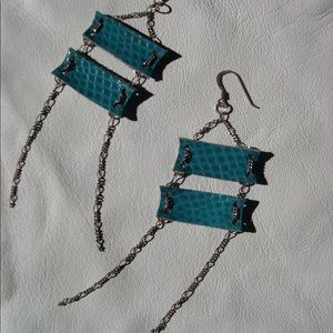 Turquoise Leather and Sterling chain Earrings